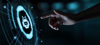 Charle el concepto de charla en línea de la tecnología de Internet del negocio de la comunicación del robot del bot imagenes de archivo