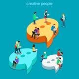 Charle el vector plano 3d de las burbujas de la comunicación de la mensajería isométrico libre illustration