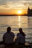 Charle la puesta del sol Foto de archivo libre de regalías