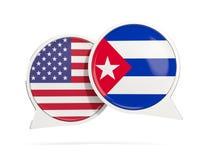 Charle las burbujas de los E.E.U.U. y de Cuba aislados en blanco Foto de archivo libre de regalías