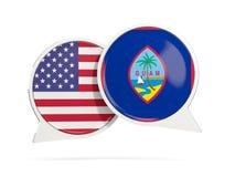 Charle las burbujas de los E.E.U.U. y de Guam aislados en blanco Imagenes de archivo