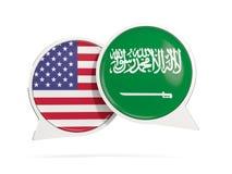 Charle las burbujas de los E.E.U.U. y de la Arabia Saudita aislados en blanco Fotografía de archivo libre de regalías