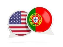 Charle las burbujas de los E.E.U.U. y de Portugal aislados en blanco Fotografía de archivo libre de regalías