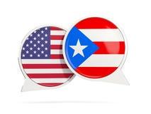 Charle las burbujas de los E.E.U.U. y de Puerto Rico aislados en blanco Fotos de archivo libres de regalías