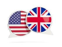 Charle las burbujas de los E.E.U.U. y de Reino Unido aislados en blanco Imagen de archivo