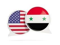 Charle las burbujas de los E.E.U.U. y de Siria aislados en blanco Foto de archivo libre de regalías