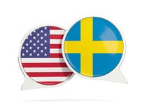 Charle las burbujas de los E.E.U.U. y de Suecia aislados en blanco Imágenes de archivo libres de regalías