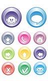 Charle los botones, contacto, email, hogar, flechas Fotos de archivo