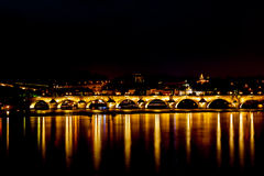 Charle's bridge in Prague at night Royalty Free Stock Photography