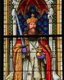 Charlemagne - Gebrandschilderd glas in de Kathedraal van Keulen royalty-vrije stock afbeeldingen