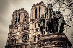 Charlemagne in Notre Dame , Paris France. Equestrian statue of Charlemagne in Notre Dame cathedral Paris France Stock Photography