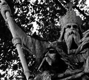 Charlemagne. Shot in black and white, detail on an sculpture representing king Charlemagne placed on the square, set in Paris, France, Europa, Europe Royalty Free Stock Photography