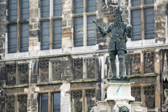 Charlemagne Statue in Akwizgran city center. Germany Royalty Free Stock Photography