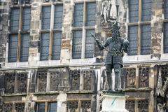 Charlemagne Statue in Akwizgran city center. Germany Stock Photography