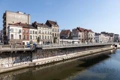 Charleroi kanal i Brussel, Belgien Arkivbild