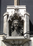Charles 1 Bust St Margaret's Church London. Charles 1's sculptured head looks directly at Oliver Cromwell's statue at the Houses of Parliament from a niche above Royalty Free Stock Photo