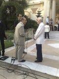 Charles Aznavour na entrevista da tevê Imagem de Stock Royalty Free