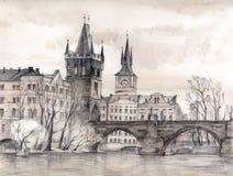 Charles-Brücke in der Kunst lizenzfreie abbildung