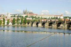 Charles-Brücke und Prag-Schloss stockfotos