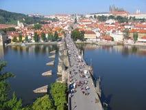 Charles-Brücke, Ansicht vom Kontrollturm. Prag, Czechia Stockfotografie