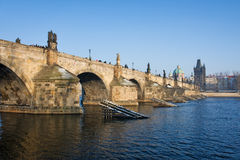Charles bridge. In winter, prague, czech republic Royalty Free Stock Images