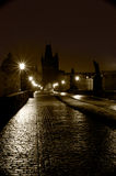 Charles Bridge. On a winter night Stock Image
