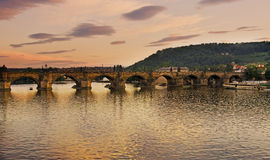Charles bridge. Dusk over the Charles Bridge,Prague Royalty Free Stock Image