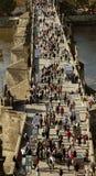 Charles bridge. A birdseye vie of tourists on Charles bridge in Prague Royalty Free Stock Photo