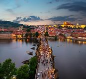 Charles Bridge from above royalty free stock photo