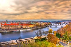 Charles Bridge And Old Town, Prague, Czech Republic Stock Photos