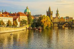 Charles Bridge and architecture of the old town in Prague. stock images