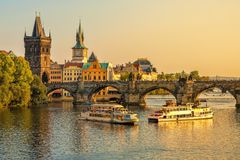 Charles Bridge and architecture of the old town in Prague. royalty free stock photos