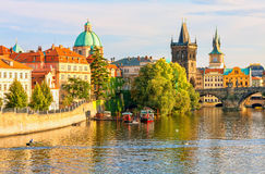 Charles Bridge and architecture of the old town in Prague. Stock Photography