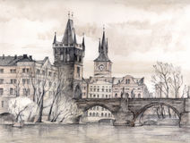 Charles Bridge in art stock photo
