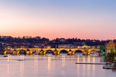 Charles Bridge at blue hour. Prague.Czech Republic Royalty Free Stock Photo