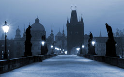 Charles Bridge, (blue) Prague stock photos