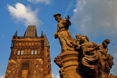 Charles Bridge bridge tower in Old Town. Charles Bridge (Karlův most) is a famous historical bridge that crosses the Vltava river in Prague, Czech Republic. Its Stock Images