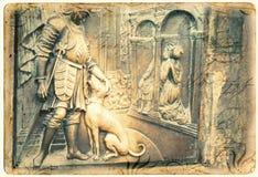 Charles Bridge carving. On postcard royalty free stock photo