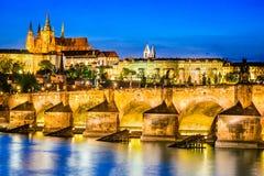 Charles Bridge, castillo de Praga, República Checa foto de archivo libre de regalías