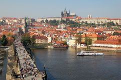 Charles bridge and Castle of Prague 2. Charles bridge and Castle of Prague seen from top of the Tower of the Old City stock photography