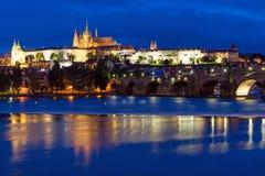 Charles Bridge and Castle in Prague Stock Photo