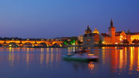 Charles bridge and castle view, prague, zoom out, timelapse, 4k stock video