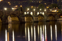 Charles Bridge and the center of Prague on a night HDR photo Stock Photography