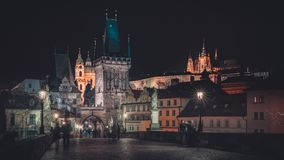 Charles Bridge Overlooked by Prague Castle royalty free stock photo