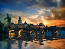 Charles bridge and clouds stock photography