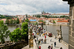 Charles Bridge constructed in 14th century in Prague Stock Image
