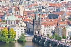 Charles Bridge crossing Vltava river. Royalty Free Stock Image