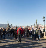 Charles Bridge with crowd of tourist Stock Photography