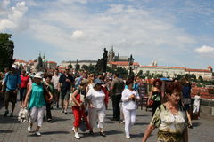 Charles Bridge _tourists Stock Images