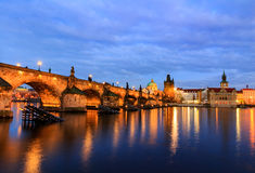 The Charles Bridge (Czech: Karluv Most) is a famous historic bridge in Prague, Czech Republic. The Charles Bridge (Czech: Karluv Most) is a famous historic Royalty Free Stock Photos
